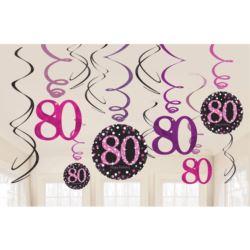 """Sprężynki dekoracyjne """"80"""" urodziny róż. 12 szt."""