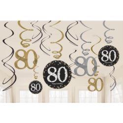 """Sprężynki dekoracyjne """"80"""" urodziny zło. 12 szt."""