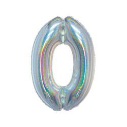 Balon foliowy B&C, Cyfra 0, holograficzna srebrna,
