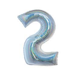 Balon foliowy B&C, Cyfra 2, holograficzna srebrna,