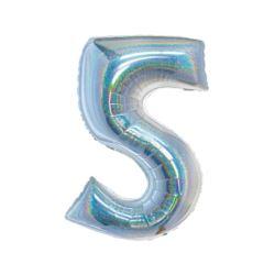 Balon foliowy B&C, Cyfra 5, holograficzna srebrna,