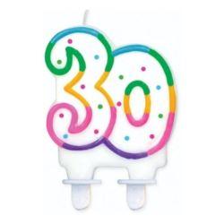 """Świeczka cyferka z kropeczkami """"30"""", 8 cm"""