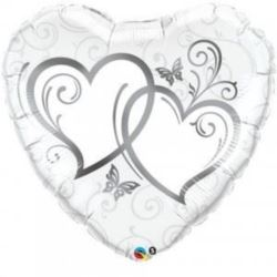 """Balon, foliowy 36"""" QL HRT """"Splecione serca - srebr"""