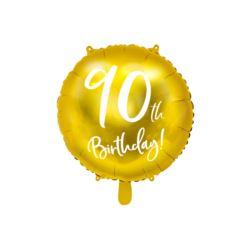 Balon foliowy 90th Birthday, złoty, 45cm