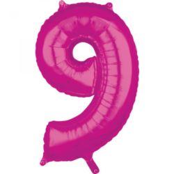 "Balon foliowy Cyfra ""9"" Róż 66cm"