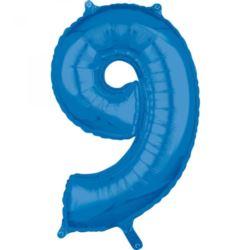 """Balon foliowy Cyfra """"9"""" Niebieska 66cm"""