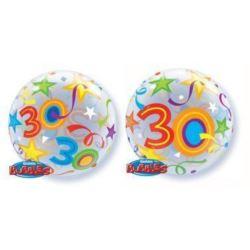 """Balon, foliowy 22"""" QL Bubble Poj. """"30 Urodziny"""""""