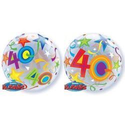 """Balon, foliowy 22"""" QL Bubble Poj.""""40 Urodziny"""""""