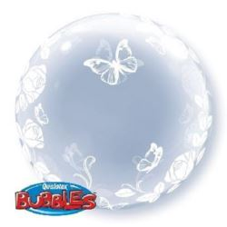 "Balon, foliowy 24"" QL Bubble Deco ""Róże i motyle"""