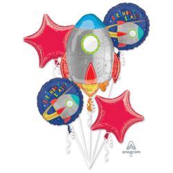 Bukiet balonow Blast off Birthday 5szt.