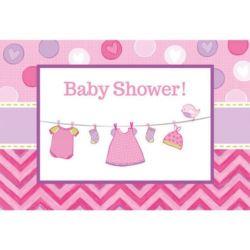balony, balony na hel, dekoracje balonowe, balony Łódź, balony z nadrukiem, Zaproszenie z kopertami Baby Shower - dziewczynka