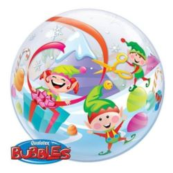 "Balon, foliowy 22"" QL Bubble Poj.""Merry Elves"""