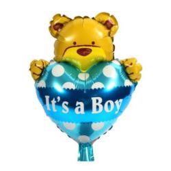 """balony, balony na hel, dekoracje balonowe, balony Łódź, balony z nadrukiem, Balon foliowy 14"""" It`s Boy z misiem"""