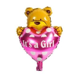 """balony, balony na hel, dekoracje balonowe, balony Łódź, balony z nadrukiem, Balon foliowy 14"""" It`s Girl z misiem"""