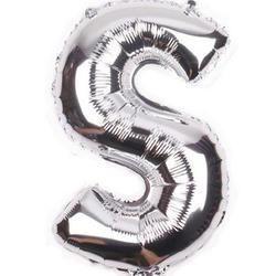 "Balon foliowy 16"", litera ""S"" srebrne"