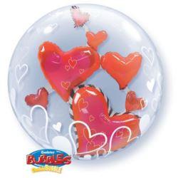 """balony, balony na hel, dekoracje balonowe, balony Łódź, balony z nadrukiem, Balon, foliowy 24"""" QL Bubble Pod.""""Serca w balonie"""