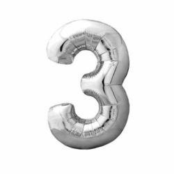 """Balon foliowy Cyfra """"3"""" - srebrny 85x49 cm"""