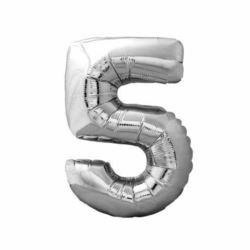 """Balon foliowy Cyfra """"5"""" - srebrny 84x47 cm"""