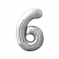 """Balon foliowy Cyfra """"6"""" - srebrny 73x47 cm"""