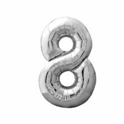 """Balon foliowy Cyfra """"8"""" - srebrny 84x47 cm"""