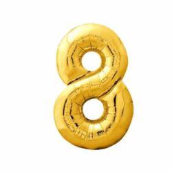 """Balon foliowy Cyfra """"8"""" - złota 84x47 cm"""