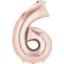 """Balon foliowy cyfra """"6"""" Rose Gold."""