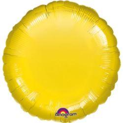 balony, balony na hel, dekoracje balonowe, balony Łódź, balony z nadrukiem, Balon, foliowy met. okrągły - żółty