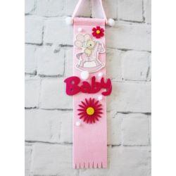 balony, balony na hel, dekoracje balonowe, balony Łódź, balony z nadrukiem, Zawieszka filcowa - Baby Girl, różowy 1 szt.