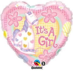 """balony, balony na hel, dekoracje balonowe, balony Łódź, balony z nadrukiem, Balon, foliowy 18"""" QL HRT """"Its a Girl"""""""