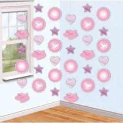 """balony, balony na hel, dekoracje balonowe, balony Łódź, balony z nadrukiem, Zestaw dekoracyjny wiszący """"Buciki"""" różowe"""