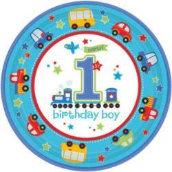 balony, balony na hel, dekoracje balonowe, balony Łódź, balony z nadrukiem, Talerzyki na 1 urodziny - chłopiec 23 cm 8 szt.