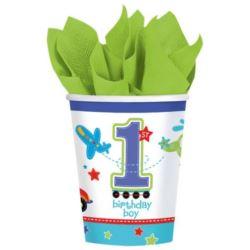 balony, balony na hel, dekoracje balonowe, balony Łódź, balony z nadrukiem, Kubeczki na 1 urodziny - chłopiec 8 szt.