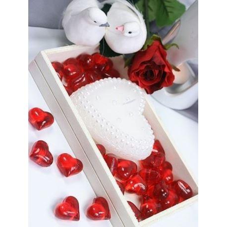 Kryształowe serca,czerwony, 21mm, 1 op.