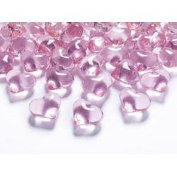 Kryształowe serca, j. różowy, 21mm
