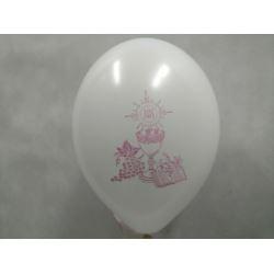 """Balon z nadrukiem """"KOMUNIA"""" białe R 10 szt."""