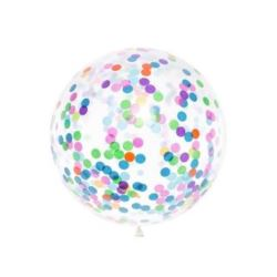 Balon z okrągłym konfetti, 1 m , mix
