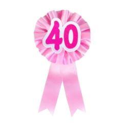 """balony, balony na hel, dekoracje balonowe, balony Łódź, balony z nadrukiem, Kotylion urodzinowy """"40"""", różowy"""