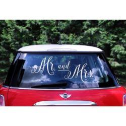 Naklejka ślubna na samochód - Mr.and Mrs