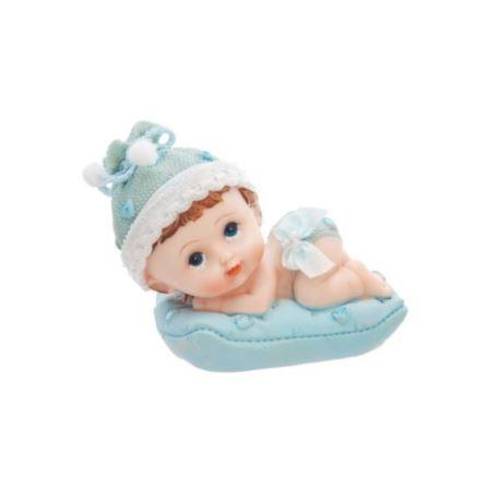 Figurka Chłopiec z poduszką, niebieski 9 cm, 1 szt
