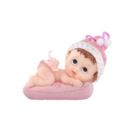 Figurka Dziewczynka z poduszką, róźowy, 9 cm 1 szt