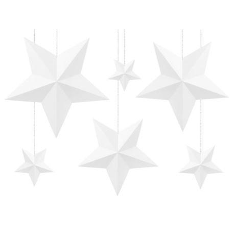 Dekoracje wiszące - Gwiazdki - białe